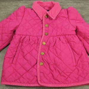 Ralph Lauren Quilted Snap Peplum Coat Pink Girl 4T